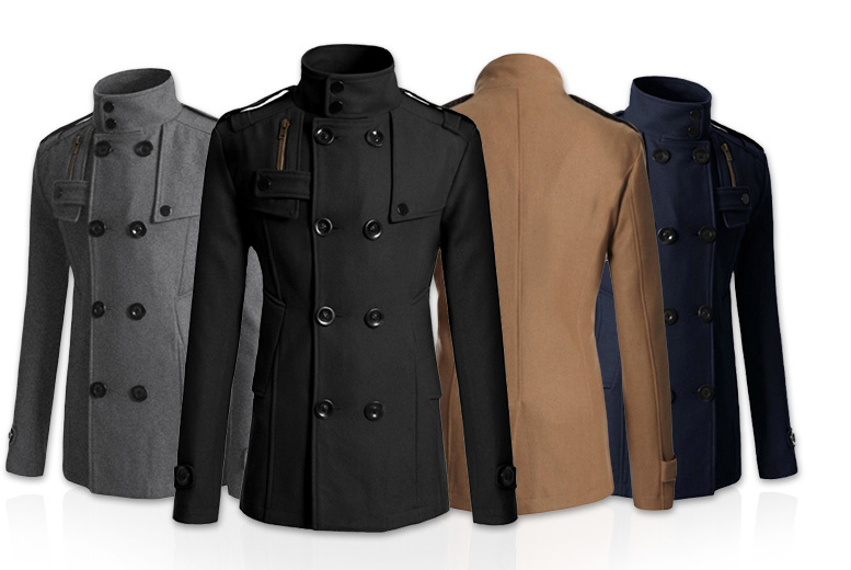 Men's Slim Fit Military Coat – 4 Sizes & 4 Colours! for £25