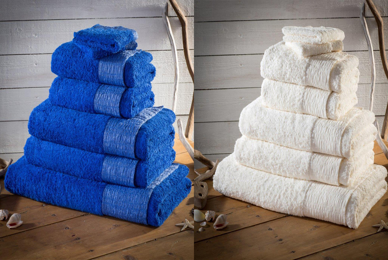 7pc 500gsm Egyptian Cotton Towel Bale with Lurex Border for £14