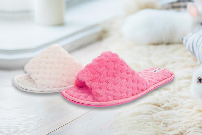 Fluffy Slider Slippers – 2 Colours! for £6.99