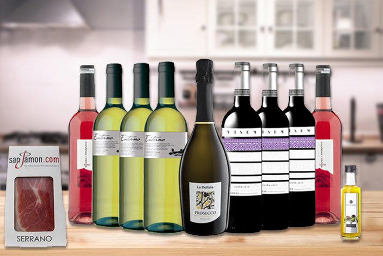 Wine With Us Hamper with Serrano & Olive Oil for £49.99