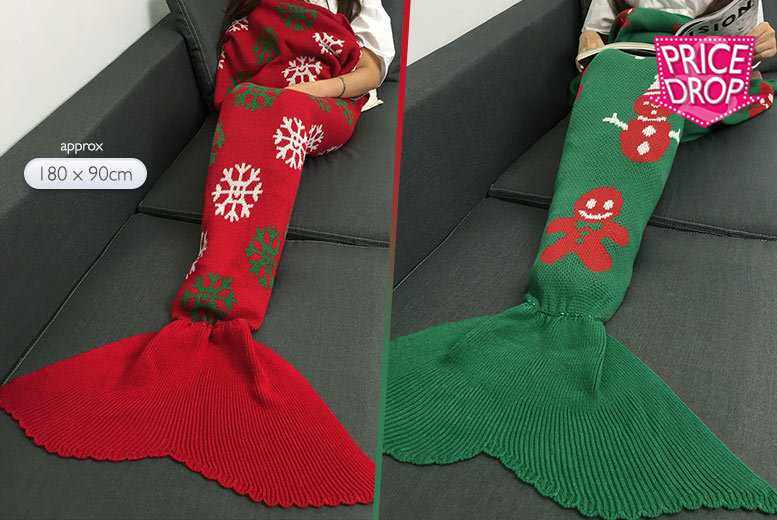 Adult Christmas Mermaid Tail Blanket – 2 Colours! for £12