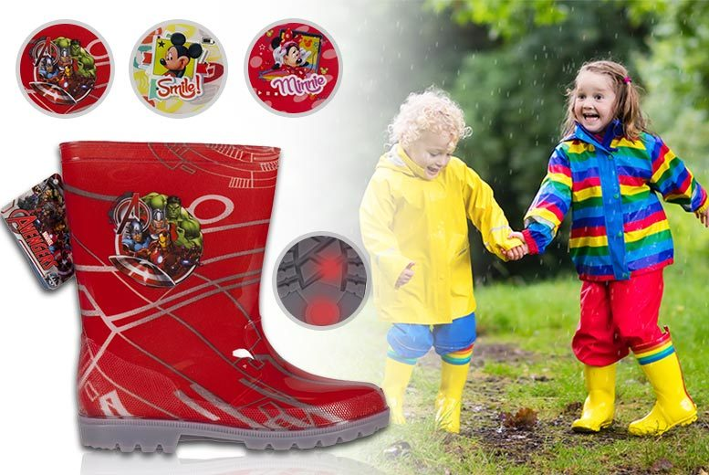 Kids' Disney-Inspired LED Wellies – 3 Styles & Sizes K 5-A 1! for £7.99
