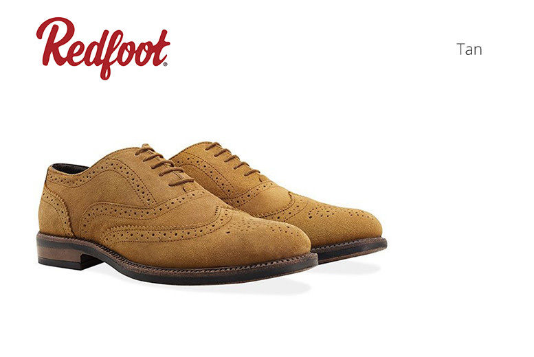 Men's Leather Brogue Shoes with a Water Resistant Finish – 2 Colours! for £29