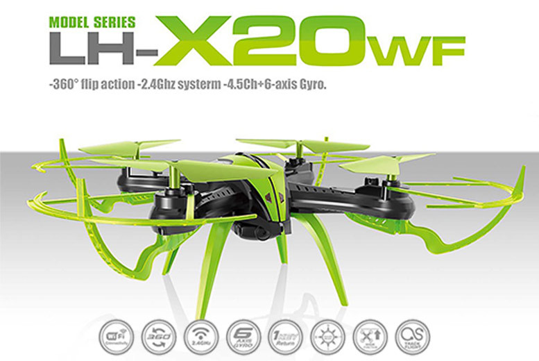 LH-X20WF Remote-Control Quadcopter Drone – 2 Colours! for £45