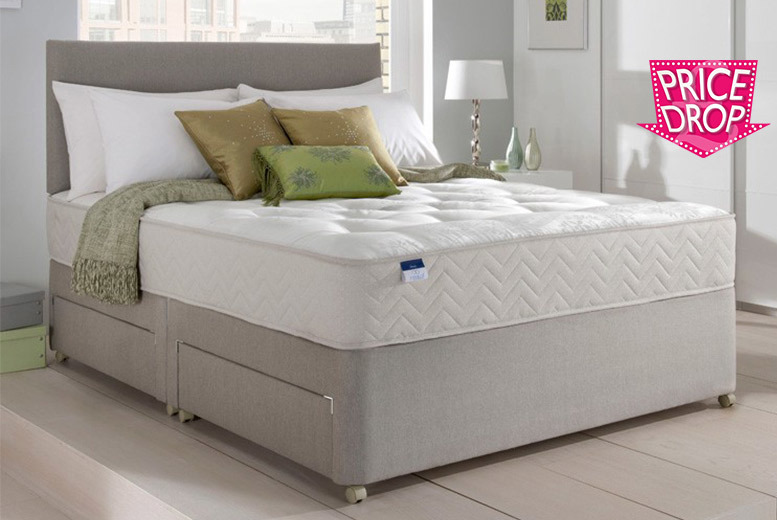 Suede Divan Bed Set with Bonnell Memory Mattress & Headboard – Opt. Drawers! from £149