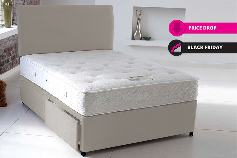 Suede Divan Bed Set with Bonnell Memory Mattress & Headboard - Opt. Drawers!