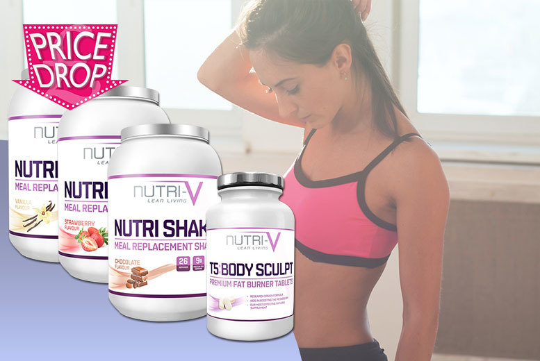 £17 instead of £60 for Nutri-V meal replacement shake powder and T5 'fat burner' tablets - choose from three flavours and save 72%