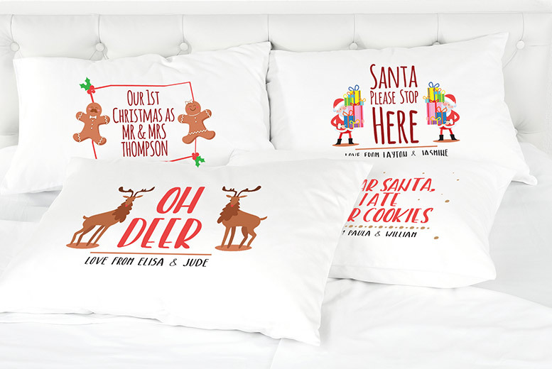 Funny Personalised Christmas Pillowcases – 12 Designs! for £3.99
