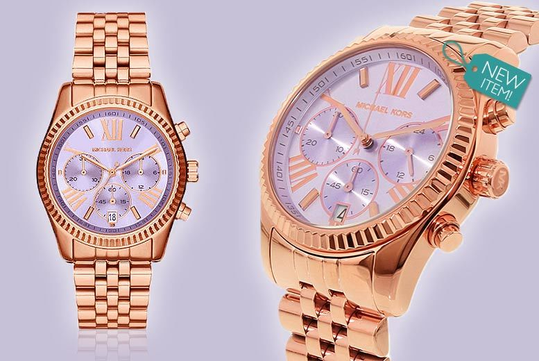 Ladies Michael Kors Lexington Lilac Dial with Rose-Gold Tone Watch