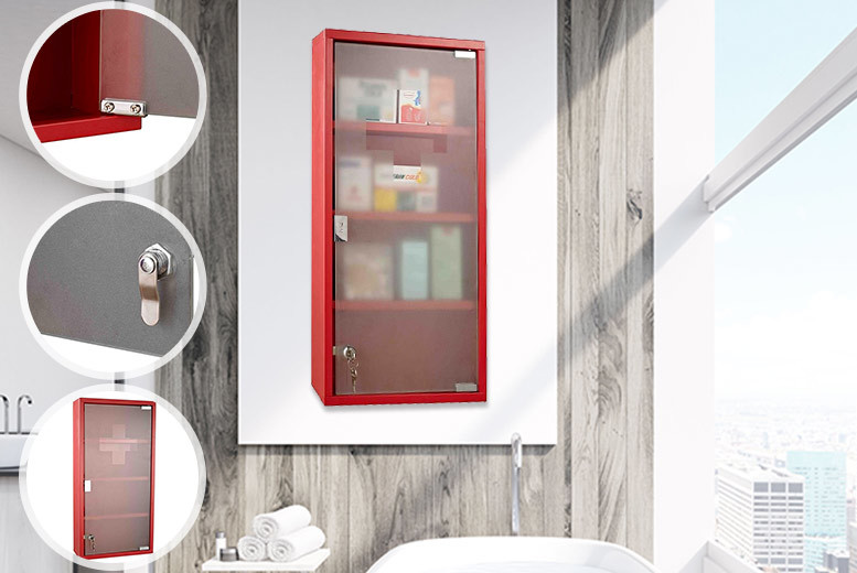 Wall Mounted Medicine Cabinet – 2 Colours! for £24.99