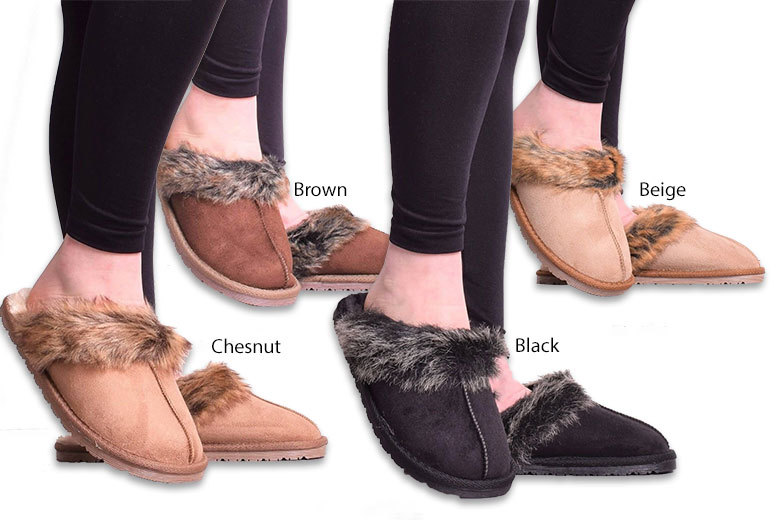 Faux Fur Slippers – 4 Colours! for £9.99