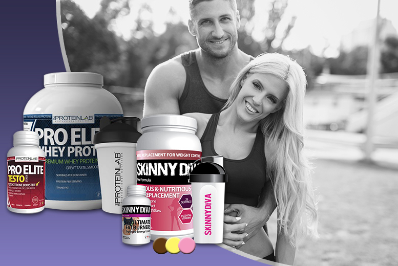 £49 (from The Protein Lab) for a couple's supplement bundle with whey protein shake, testosterone boosters, meal replacements and T5 'fat burners' - save 74%