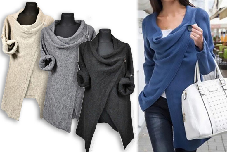 Wrap Around Cardigan – Sizes 8-12 & 4 Colours! for £10