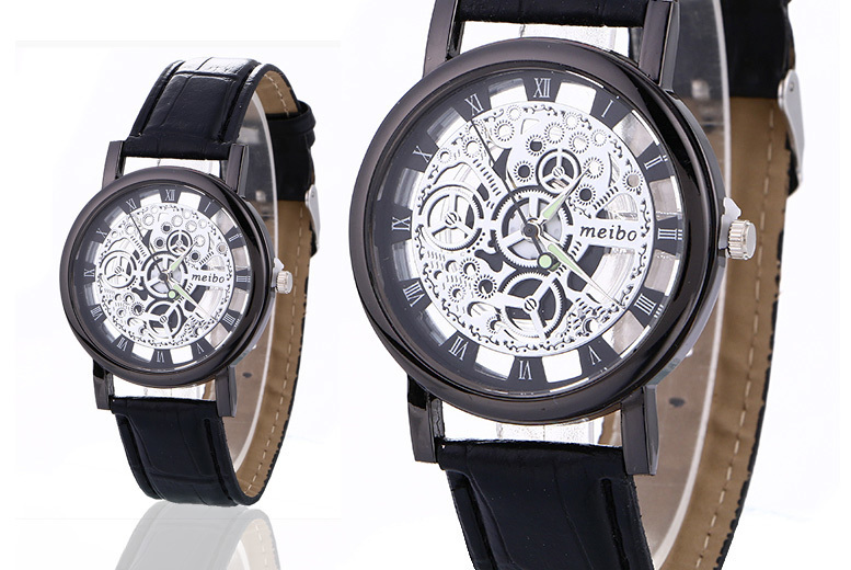 Men's Vegan Leather Skeleton Watch – 2 Colours! from £9