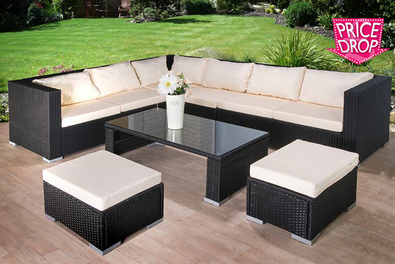9pc Rattan Corner Sofa with Stool & Coffee Table Set for £449