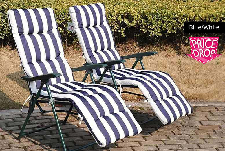2 Superior Comfort Sun Loungers – 3 Colours! for £49