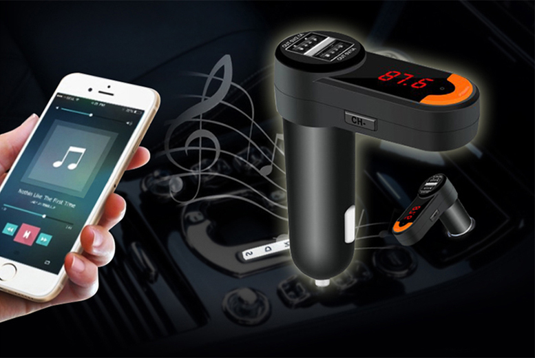 Bluetooth Car Kit with Dual Port Charger & FM Transmitter for £9.99