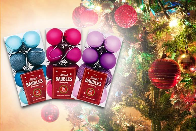 48pc Assorted Xmas Baubles – 3 Colours! for £5.99