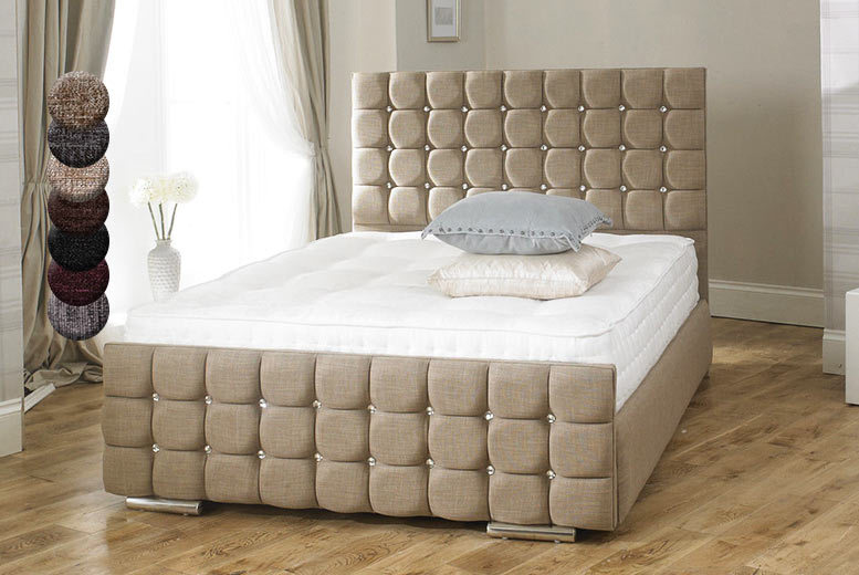 Luxury Crystal Chenille Fabric Storage Bed – 7 Colours! from £169