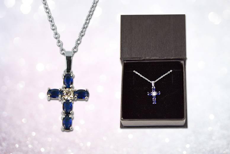 Created Sapphire Cross Necklace for £14
