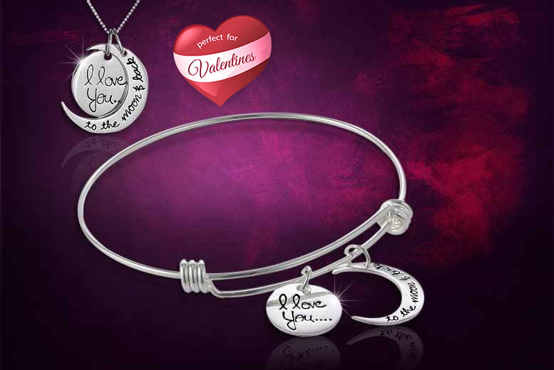 £9 instead of £49 (from Elle & Be) for an 'I Love You To The Moon and Back' necklace and bangle set – save an out of this world 82%