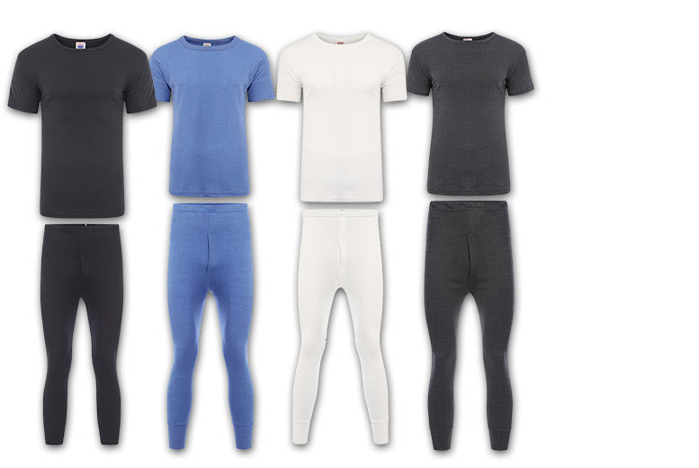 Men's Short or Long-Sleeved Thermal Top & Pants Set – 4 Colours! for £4.99