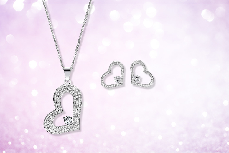 White Gold Coloured Heart Duo Set for £12