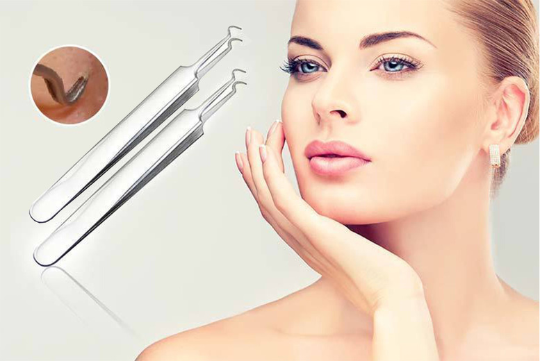 Two Blackhead Removal Hooked Tweezers for £1.99