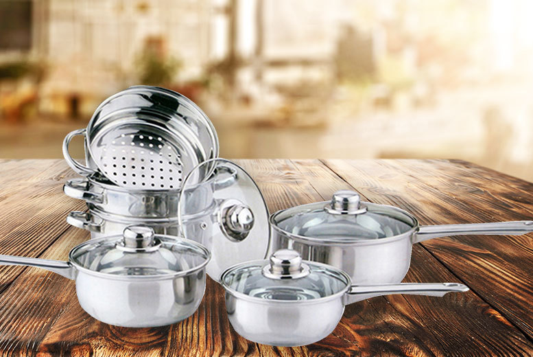 6pc Stainless Steel Steamer Set for £18