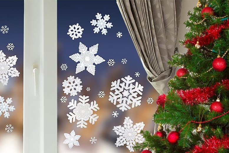 20 Frosted and Glittery Snowflake Window Stickers for £2.99