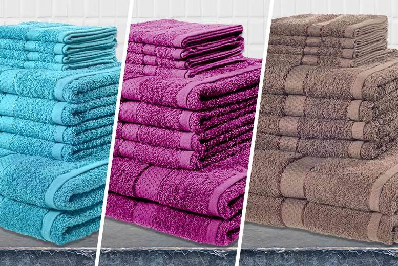 10pc Egyptian Cotton Towel Bale – 13 Colours! from £11