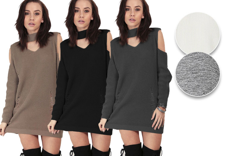 Chunky Knit Destroyed Look Jumper – 5 Colours & Sizes 8-22! for £16