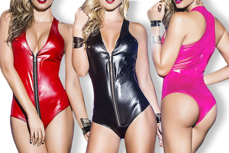 Faux Leather Zip Front One Piece for £9
