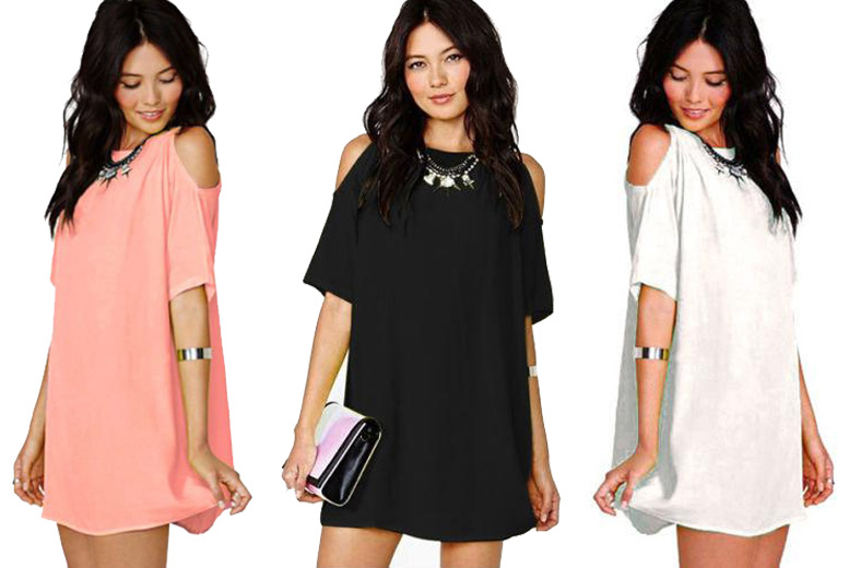 Boho Off-Shoulder Mini Dress – 3 Colours! for £9