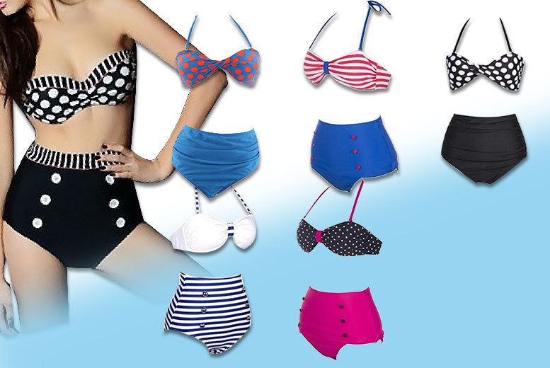 Retro High-Waisted Bikini – 6 Designs! for £7.99