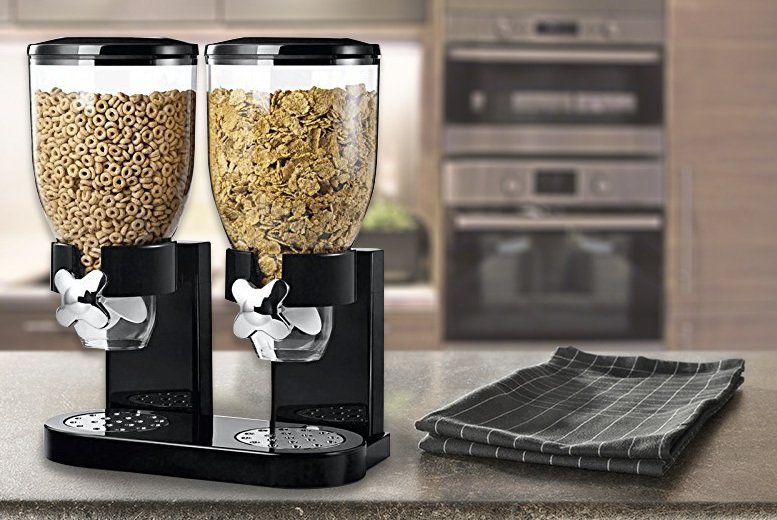 A Double Cereal or Dry Food Dispenser- 2 Colours! for £10.99