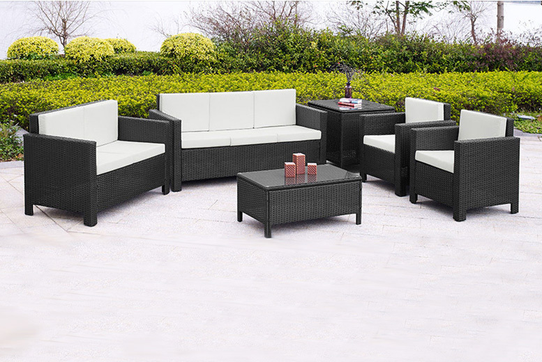 receive a stylish seven seater large rattan garden furniture set get three seater and two seater sofa includes two armchairs a coffee table and a corner