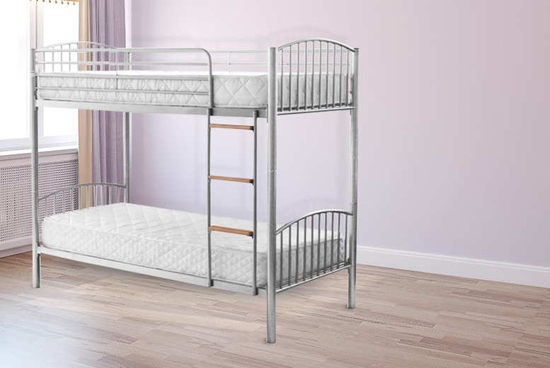 £89 (from StickBase) for a twin-sleeper metal bunk bed frame, £179 with 2 economy mattresses or £219 with 2 flex mattresses and 2 pillows - save up to 61%