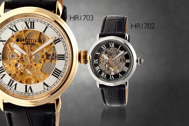 £79 instead of £595 for an automatic Heritor watch with leather strap and skeleton dial - choose from six designs and save 87% + DELIVERY INCLUDED!