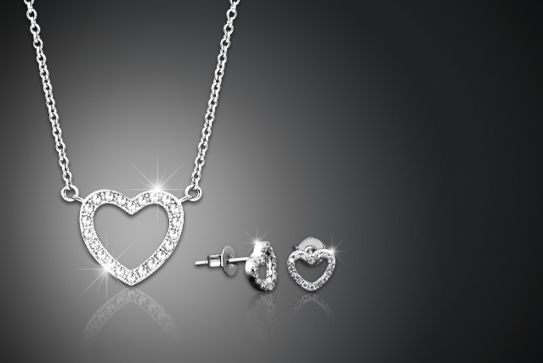 £8 instead of £125 (from Jewel Unique) for an 18ct white gold-plated pavé heart pendant necklace and earrings duo set made with Swarovski Elements - save 94%