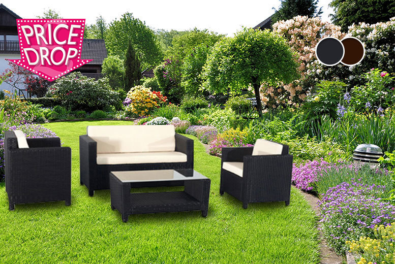 £249 for a four-piece Roma rattan garden furniture set - choose form two colours!