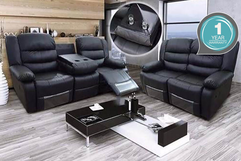 2-3 Seater Reclining Leather Sofa – 2 colours! from £299