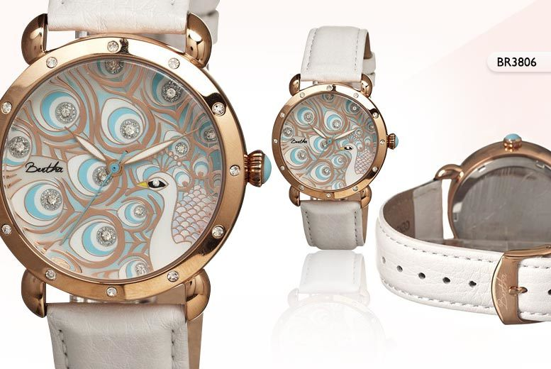 £49.99 instead of £521.01 (from Bertha Watches) for a 'Genevieve' watch with peacock detail - choose from three colours and save 90%