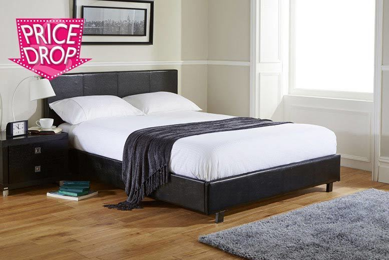 £145 for a single faux leather bed and memory foam mattress, duvet and pillow, £174 for a small double or double, £194 for a king size - save up to 72%