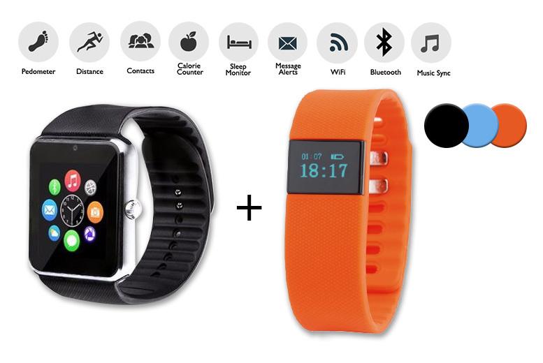 21-in-1 Smartwatch + TW64 Fitness Tracker Smart Wearables Bundle for £19.99