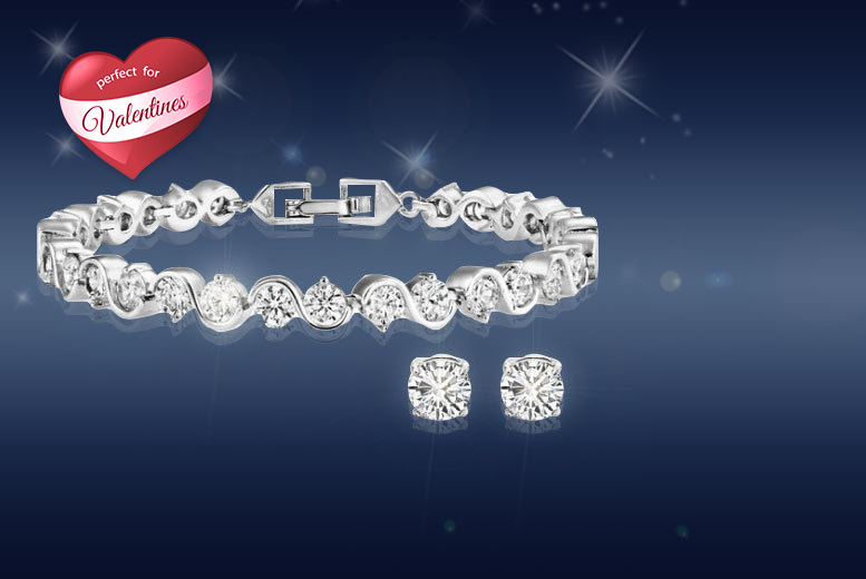 £9 instead of £99.99 (from Fakurma) for a twisted tennis bracelet duo set with matching stud earrings made with Swarovski Elements - save 91%