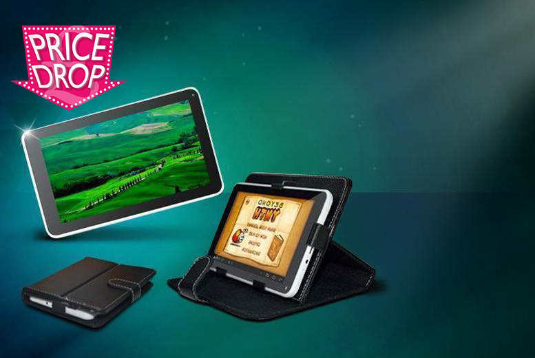 "£32 instead of £124.99 (from D2D) for a 7"" dual core Android tablet bundle including a faux leather case - save 74%"