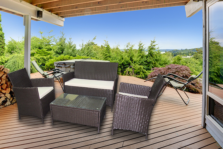 £129 for a four-piece rattan garden or conservatory furniture set including a double sofa, two chairs and a coffee table - save 82%