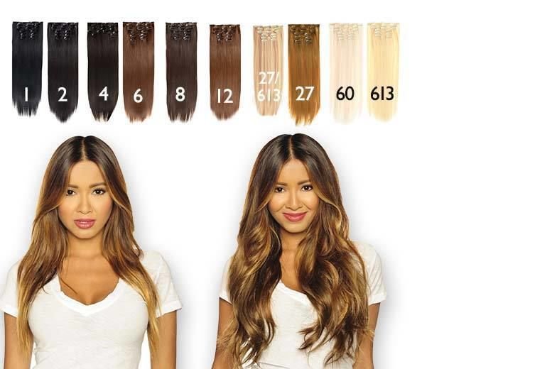 """7pc 22"""" Clip-In Hair Extensions Set – 10 Colours! for £22"""