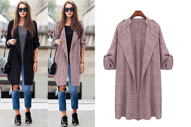 spring open-front trench coat